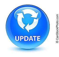 Update (refresh icon) glassy cyan blue round button