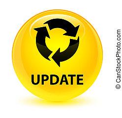 Update (refresh icon) glassy yellow round button