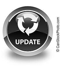 Update (refresh icon) glossy black round button
