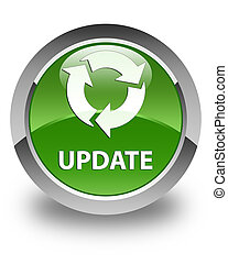 Update (refresh icon) glossy soft green round button