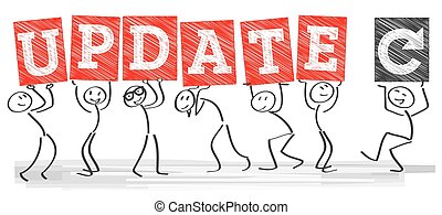 Update Sign - Diverse Stick figures Holding The Word Update