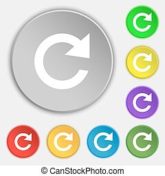 update sign icon. Full rotation arrow symbol. Symbols on eight flat buttons. Vector
