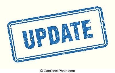 update stamp. update square grunge sign. update