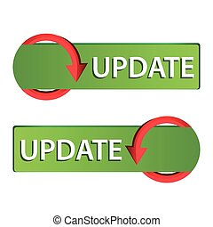 Update Web button set. Icon Set. green button