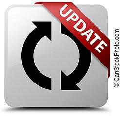 Update white square button red ribbon in corner