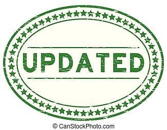 updated, grunge, timbre, caoutchouc, arrière-plan vert, cachet, ovale, blanc