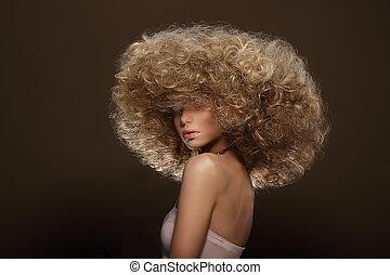 updo., voga, style., mulher, com, futurista, penteado
