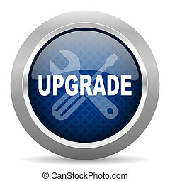 upgrade blue circle glossy web icon on white background, round button for internet and mobile app