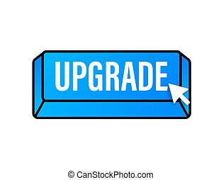 Upgrade blue square button. Vector stock illustration.