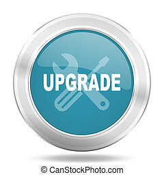 upgrade icon, blue round glossy metallic button, web and mobile app design illustration