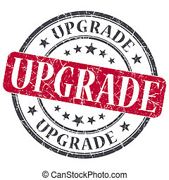 Upgrade red grunge round stamp on white background