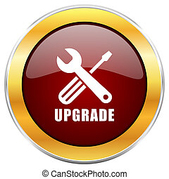 Upgrade red web icon with golden border isolated on white background. Round glossy button.