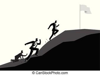 uphill, bandeira, correndo, homens negócios, apreender