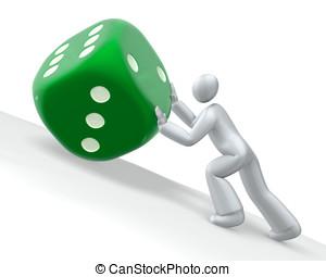 Uphill job - Man pushing uphill the die cube, metaphor of...