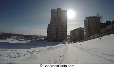 Uphill riding in winter gopro view - Uphill riding on a...