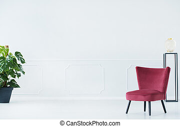 Upholstered chair in living room