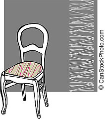 Upholstered chair with white lines pattern in the background