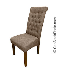 Upholstered chair with wooden legs, isolated on white background.