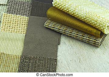 upholstery, en, tapestry, kleur, selectie, voor, interieur