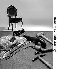 upholstery, gereedschap, stoel, en, weefsel