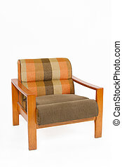upholstery, kleurrijke, houten leunstoel, achtergrond, witte...