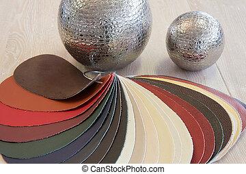 upholstery, natural, couro, cores, vário, amostras