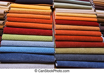 Upholstery samples - Colorful upholstery samples in the shop