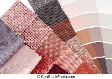 upholstery, tapestry, en, gordijn, kleur, selectie, voor,...