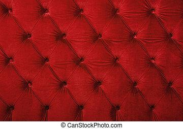 upholstery, tecido, tufted, capitone, textura, vermelho