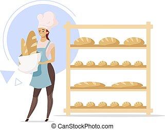 upieczony, hat., karmowa farba, shop., dziewczyna, biały, kobieta, industry., samiczy kuchmistrz, products., production., rysunek, tło, odizolowany, litera, upiec, bread, illustration., płaski, następny, piekarz, wektor, pozbywa się
