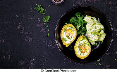 upieczony, prospekt, świeży, jajko, overhead., salad., ...