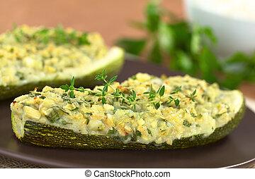 upieczony, wypchany, zucchini