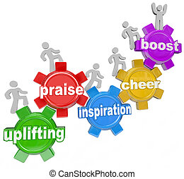 The words Uplifting, Praise, Inspiration, Cheer and Boost to illustrate the achievements and improvement that a person or team of people can make when motivated and inspired