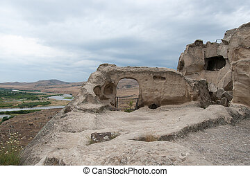 Uplistsikhe ancient rock-hewn town - Caves town in Georgia...
