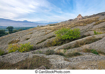 Uplistsikhe is an ancient rock-hewn town in eastern Georgia....