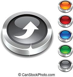 . Upload 3d button set. Vector illustration.