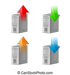 Upload and Download - Icon Set of Computer with Upload and...