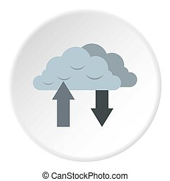 Upload and download data icon, flat style