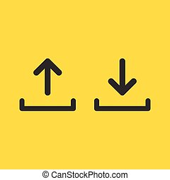 upload and download icon set, simple linear desighn for websites, apps, UI, presentations. Arrow up and down. Vector illustration isolated on yellow background .