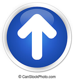 Upload arrow icon blue glossy round button