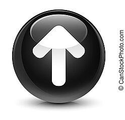 Upload arrow icon glassy black round button