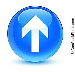 Upload arrow icon glassy cyan blue round button