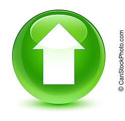 Upload arrow icon glassy green round button
