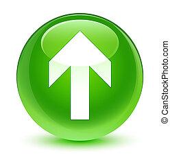 Upload arrow icon glassy green round button