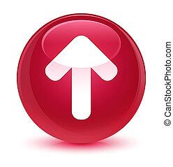 Upload arrow icon glassy pink round button