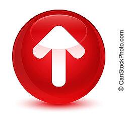 Upload arrow icon glassy red round button