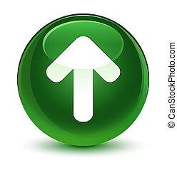 Upload arrow icon glassy soft green round button