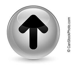 Upload arrow icon glassy white round button
