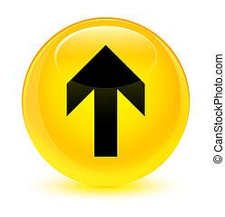 Upload arrow icon glassy yellow round button