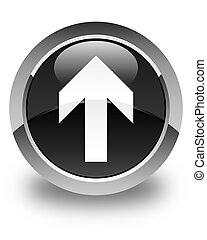 Upload arrow icon glossy black round button